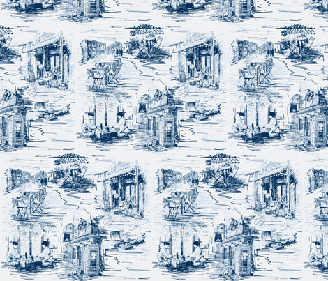 Travelling Cat Toile white and china blue