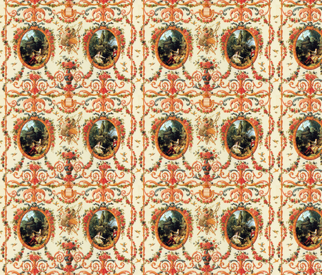 Rococo Lovers ~ Seasons of Love ~ Medium  fabric by peacoquettedesigns on Spoonflower - custom fabric