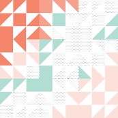 old maid's puzzle cheater quilt // polka dot aqua