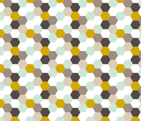 Mint Gold Hexagon fabric by mrshervi on Spoonflower - custom fabric
