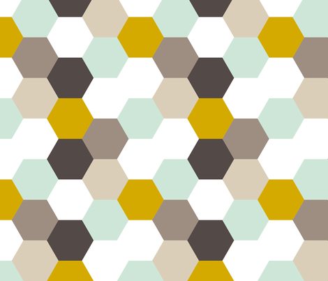 Mint Gold Hexagon fabric by mrshervi on Spoonflower - custom fabric