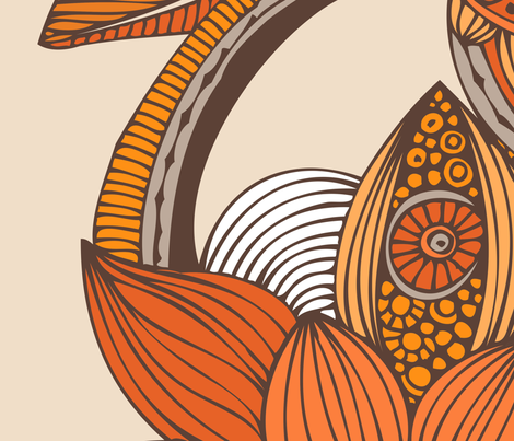 Boho orange fabric by valentinaharper on Spoonflower - custom fabric