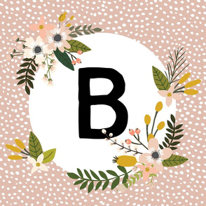 Blush Sprigs and Blooms Monogram Lovey // B