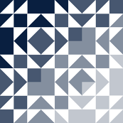 old maid's puzzle cheater quilt // navy ombre