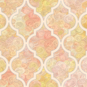 Pale peach Moroccan quatrefoil over icecream swirls