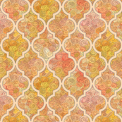 Golden impasto in a peach quatrefoil