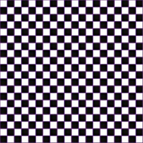 Black and white check on purple background
