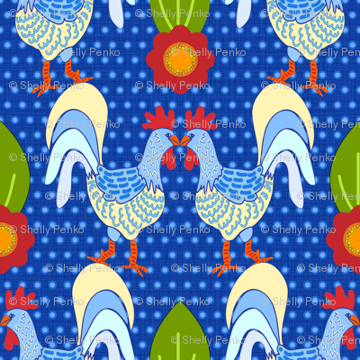 Pecking Order on Blue with Polka Dots