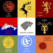 Game of Thrones Sigils and House Words