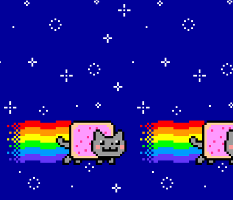 Nyan Cat Re-Pixeled - Long fabric by vanityblood on Spoonflower - custom fabric