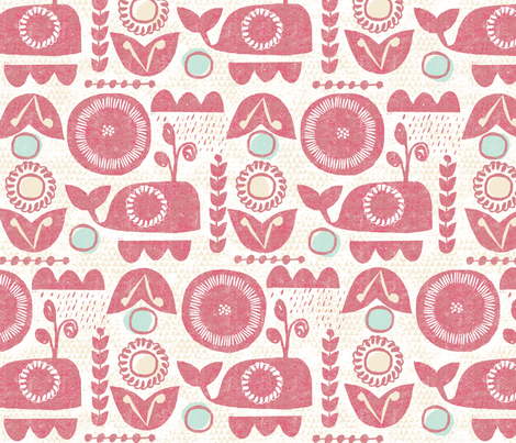 folk whale-dusty rose fabric by ottomanbrim on Spoonflower - custom fabric