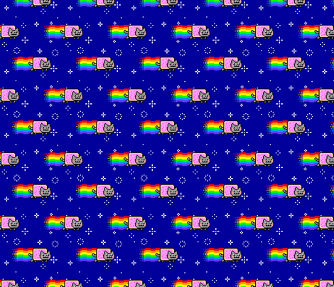 Nyan Cat Re-Pixeled - Rep fabric by vanityblood on Spoonflower - custom fabric