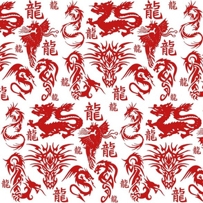 BLOOD RED CHINESE DRAGONS