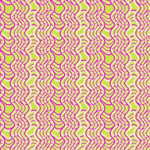 Neon Pink and Chartreuse Wobbly Cross Hatches 12x12