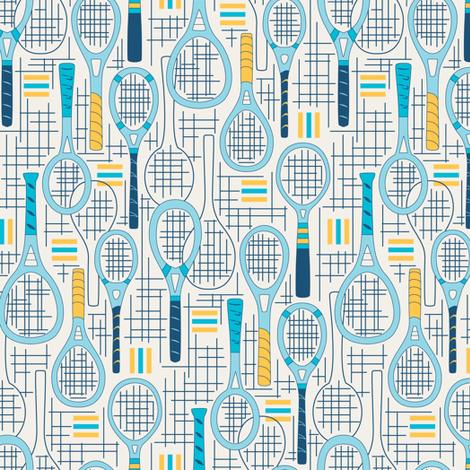 Designer Tennis Racquets Blue Set 2 fabric by mag-o on Spoonflower - custom fabric