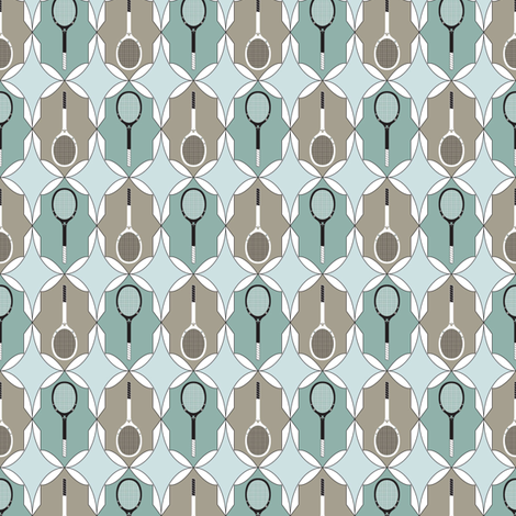 Tennis Racquet Vintage Blue Set 1 fabric by mag-o on Spoonflower - custom fabric