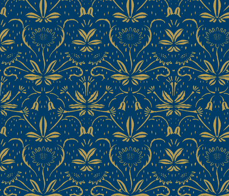 Sunflowers ~ Rococo Gold on Lonely Angel fabric by peacoquettedesigns on Spoonflower - custom fabric