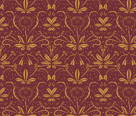 Sunflowers ~ Rococo Gold on Puce fabric by peacoquettedesigns on Spoonflower - custom fabric