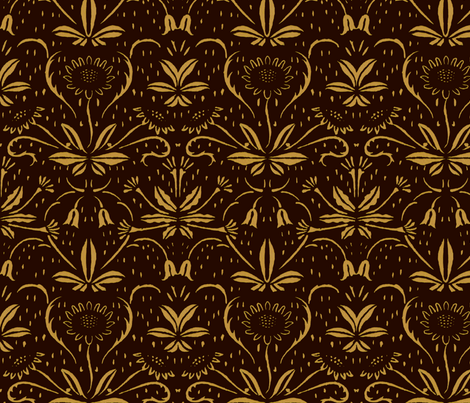 Sunflowers ~ Rococo Gold on Senart fabric by peacoquettedesigns on Spoonflower - custom fabric