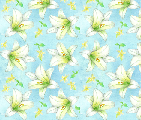 Easter Lilies fabric by countrygarden on Spoonflower - custom fabric