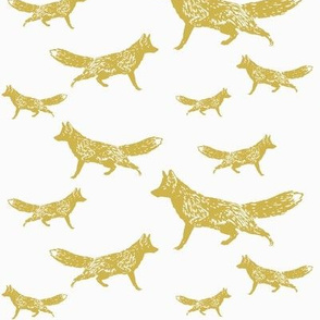 Trotting Foxes in Gold-ed-ed
