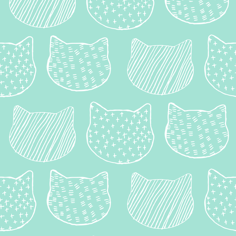 Cat Sketch in Aqua fabric by emilysanford on Spoonflower - custom fabric