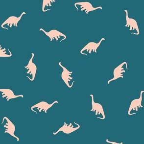 Ditsy Brontosaurus - Teal
