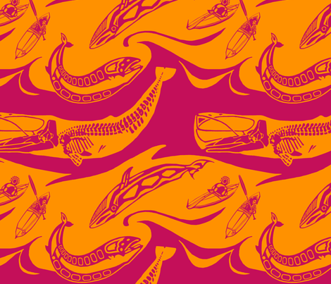 whales magenta orange