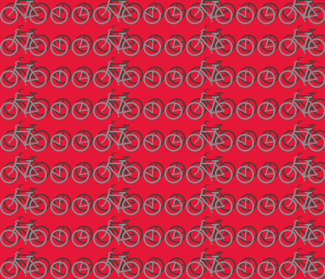 I_Want_to_Ride_My_Bicycle_RED fabric by mammajamma on Spoonflower - custom fabric
