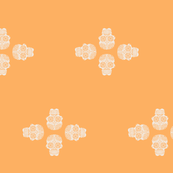 4 Suger Skulls On Tangerine
