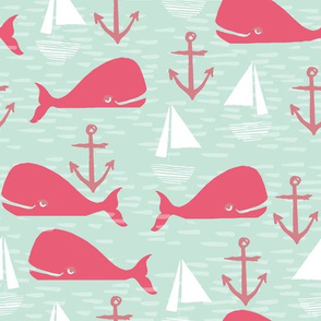 Anchors Away!  Whales // pink and green whale nautical fabric cute whales ocean sailbaots