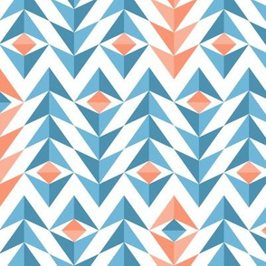 Blue and orange geometric feathers