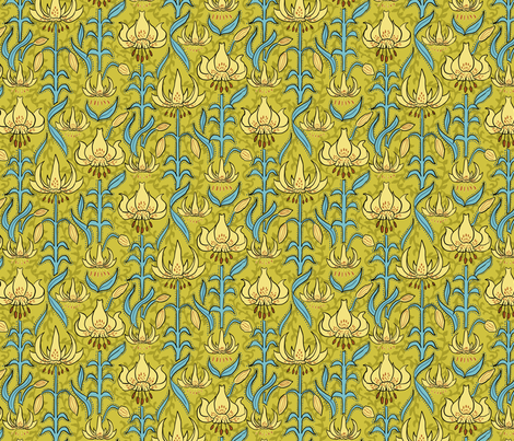 Art Nouveau Lilies fabric by vinpauld on Spoonflower - custom fabric