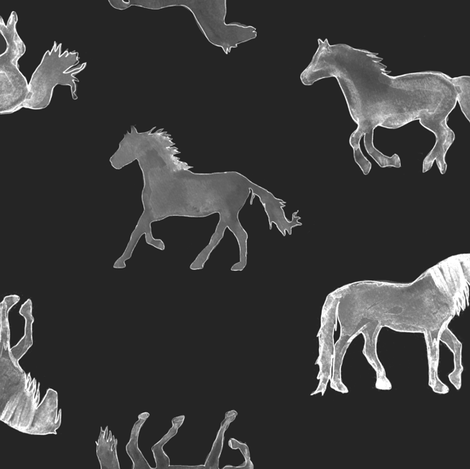 Horses in Charcoal Large fabric by emilysanford on Spoonflower - custom fabric