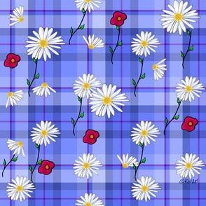 Floral Explosion on Plaid