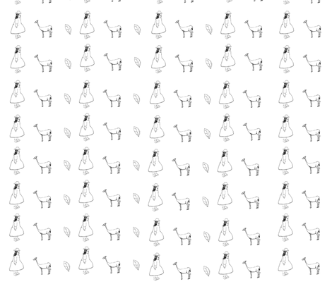 Person,Plant,Animal fabric by vita-coyotellc on Spoonflower - custom fabric