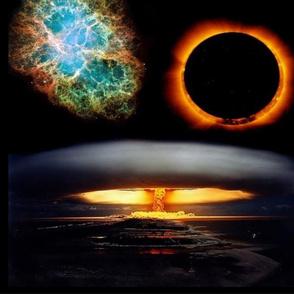 Nuke Exploding Over City With Solar Eclipse And Nebula