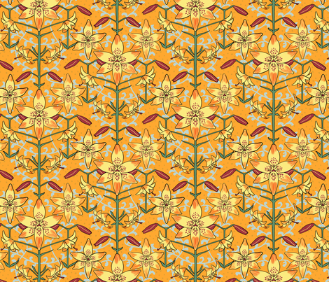Art Nouveau Lilies Orange and Yellow