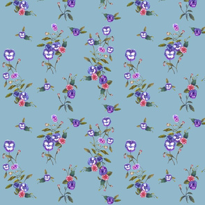 Pansies and Peonies Steel Blue