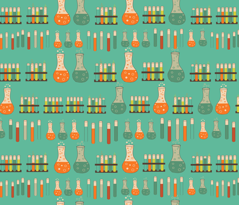 chemistry lab on teal fabric by kociara on Spoonflower - custom fabric