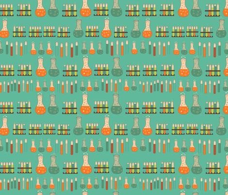 chemistry lab on teal fabric by kociara on Spoonflower - custom fabric