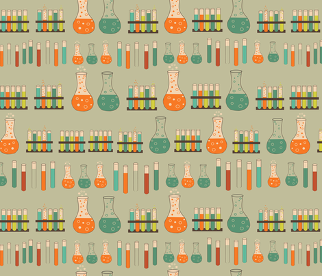 chemistry lab on faded green fabric by kociara on Spoonflower - custom fabric