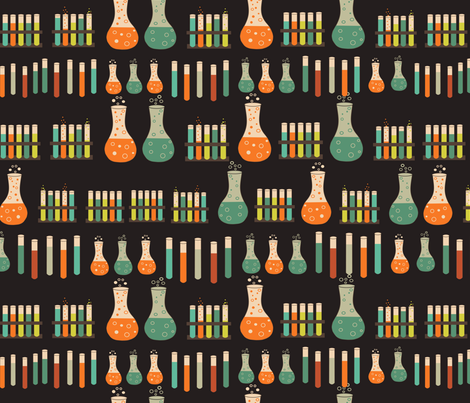 chemistry lab on black fabric by kociara on Spoonflower - custom fabric