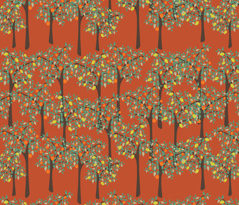 orange and lemon trees fabric by kociara on Spoonflower - custom fabric