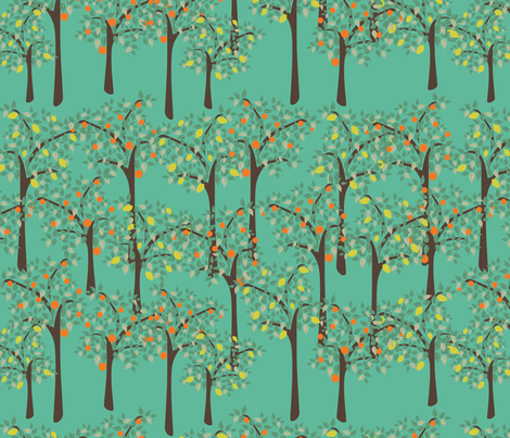 lemon and orange trees fabric by kociara on Spoonflower - custom fabric