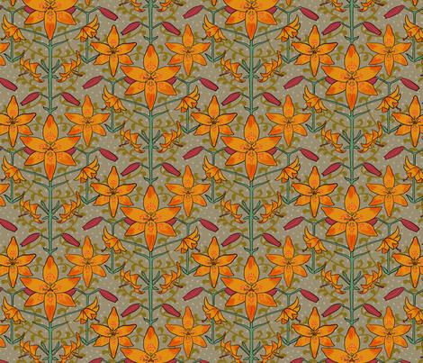 Art Nouveau Lilies Orange Burgundy and Gray