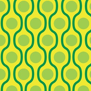 waves and dots green yellow