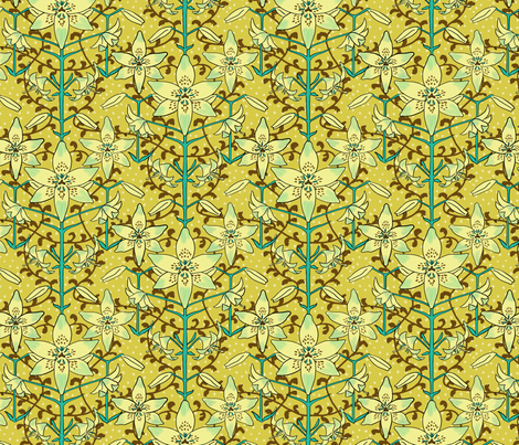 Art Nouveau Lilies Pale Yellow and Aqua