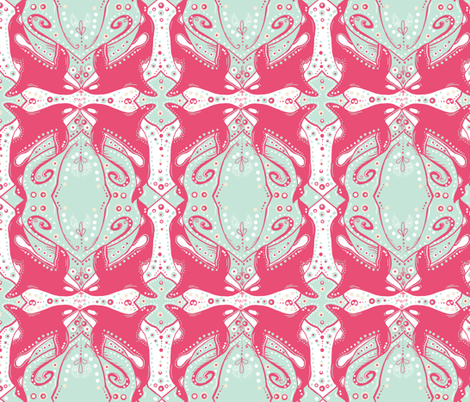 Pink Ornamental Orca in an ornate minty sea