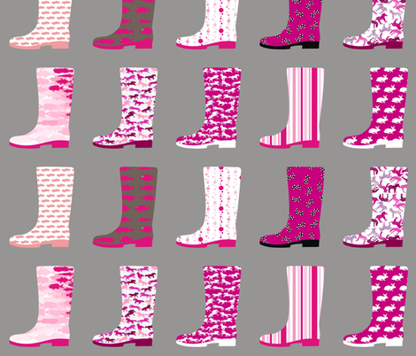 Gumboot Pinkness fabric by smuk on Spoonflower - custom fabric